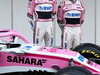 TEST F1 BARCELLONA 26 FEBBRAIO, (L to R): Esteban Ocon (FRA) Sahara Force India F1 VJM11 with team mate Sergio Perez (MEX) Sahara Force India F1. 26.02.2018.