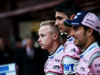 TEST F1 BARCELLONA 26 FEBBRAIO, (L to R): Nikita Mazepin (RUS) Sahara Force India F1 Team Development Driver with Esteban Ocon (FRA) Sahara Force India F1 Team e Sergio Perez (MEX) Sahara Force India F1. 26.02.2018.