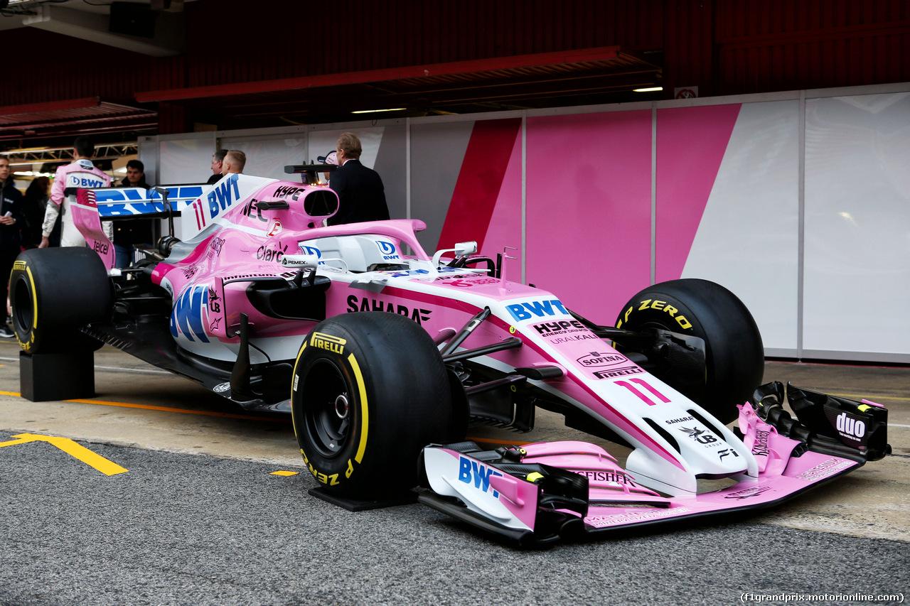 TEST F1 BARCELLONA 26 FEBBRAIO, The Sahara Force India F1 VJM11 is revealed. 26.02.2018.