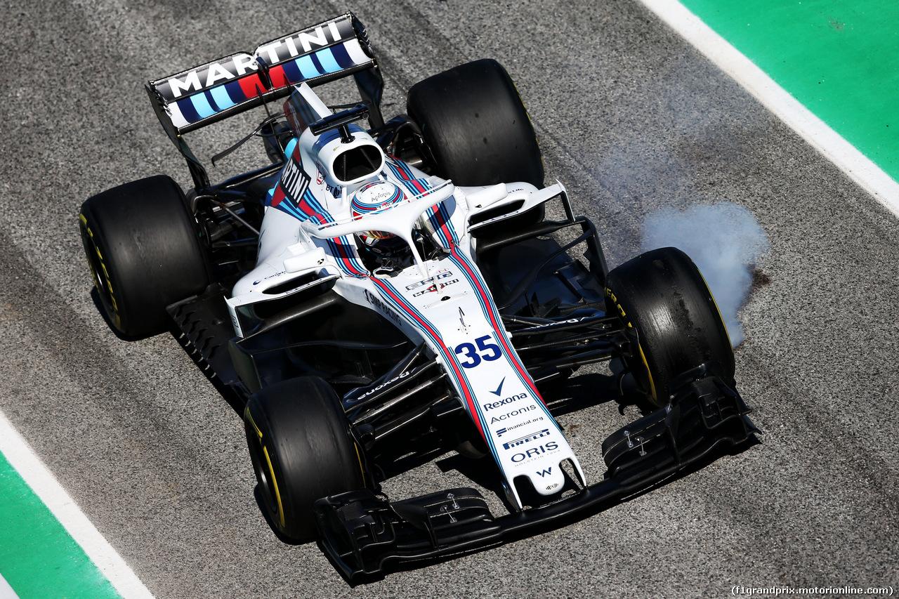 TEST F1 BARCELLONA 7 MARZO, Sergey Sirotkin (RUS) Williams FW41 locks up under braking. 07.03.2018.