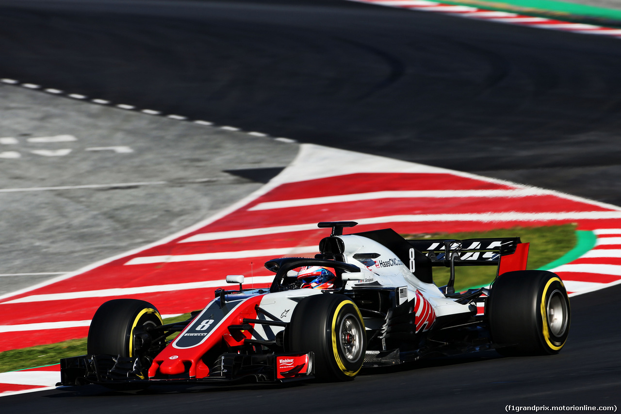 TEST F1 BARCELLONA 8 MARZO, Romain Grosjean (FRA) Haas F1 Team VF-18. 07.03.2018.