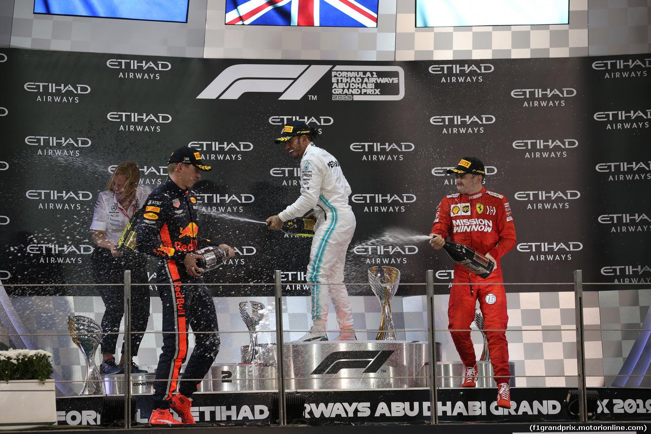 GP ABU DHABI, 1st place Lewis Hamilton (GBR) Mercedes AMG F1 W10, 2nd Max Verstappen (NLD) Red Bull Racing RB15 e 3rd place Charles Leclerc (MON) Ferrari SF90. 01.12.2019.