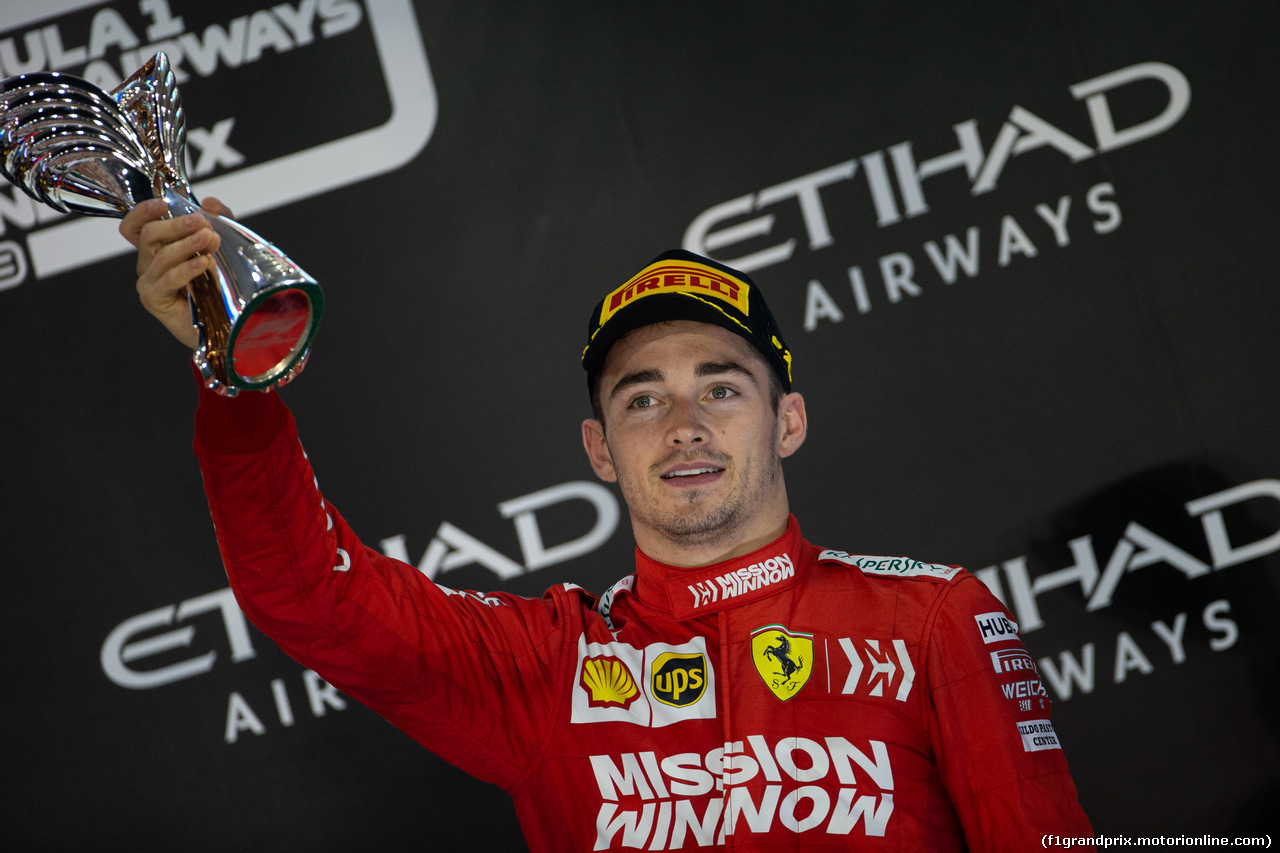 GP ABU DHABI, Charles Leclerc (MON) Ferrari celebrates his third position on the podium. 01.12.2019.