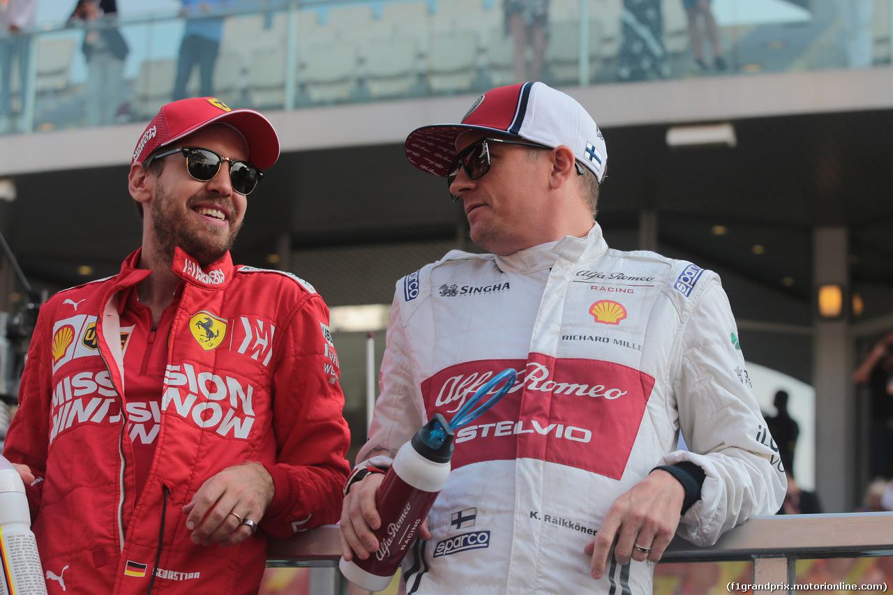 GP ABU DHABI, 01.12.2019 - Gara, Sebastian Vettel (GER) Ferrari SF90 e Kimi Raikkonen (FIN) Alfa Romeo Racing C38