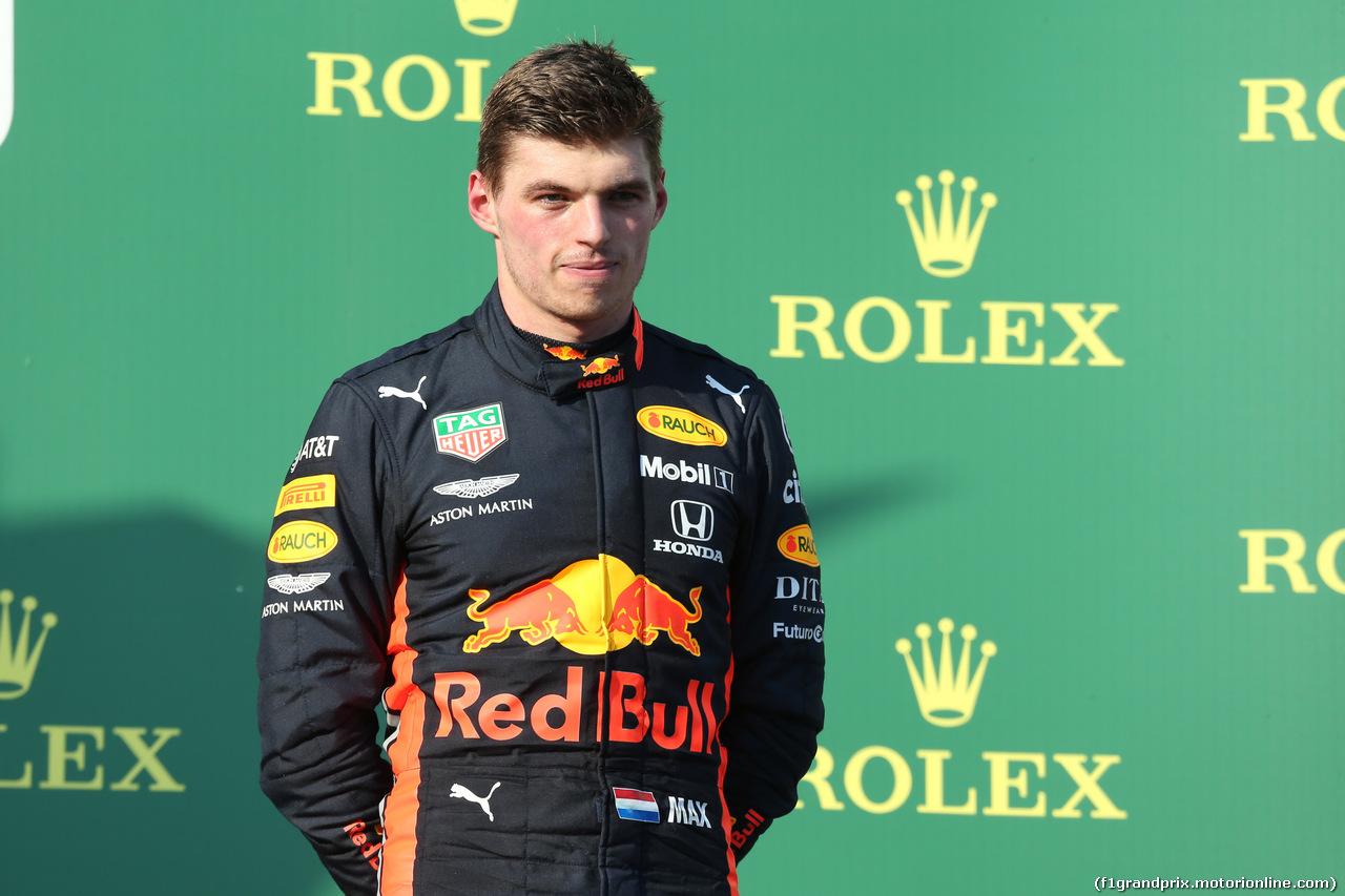 GP AUSTRALIA, 17.03.2019- Podium, 3rd place Max Verstappen (NED) Red Bull Racing RB15
