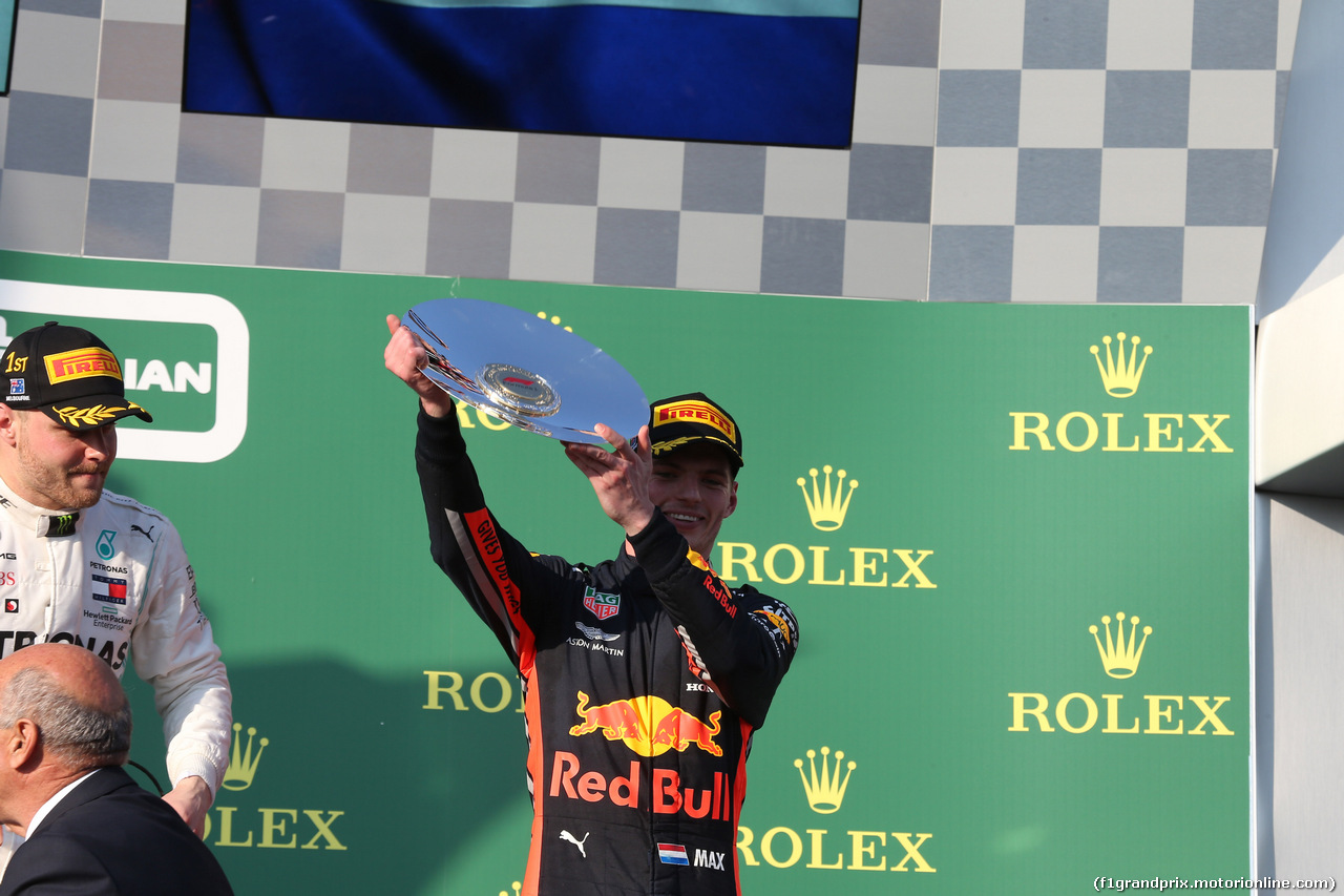 GP AUSTRALIA, 17.03.2019- Podium, 3rd place Max Verstappen (NED) Red Bull Racing RB15