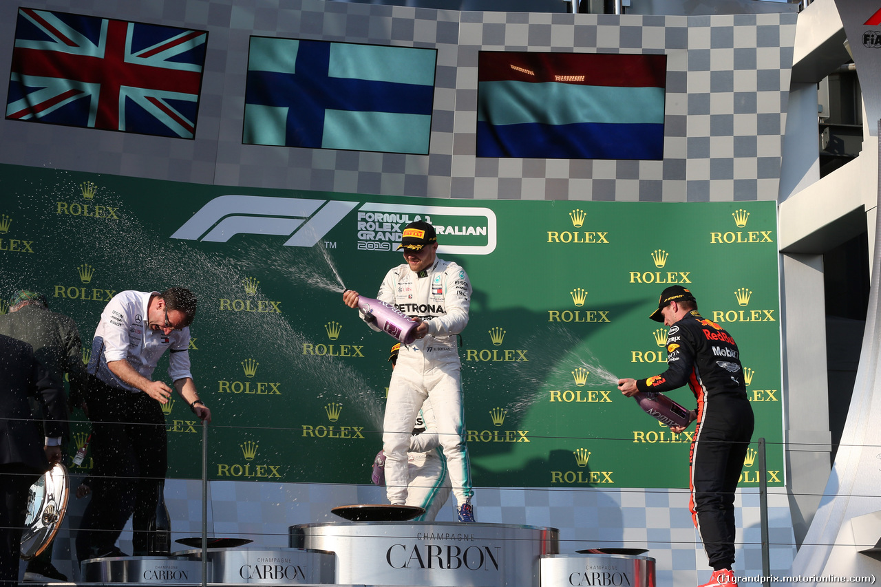 GP AUSTRALIA, 17.03.2019- Podium, winner Valtteri Bottas (FIN) Mercedes AMG F1 W10 EQ Power, 2nd place Lewis Hamilton (GBR) Mercedes AMG F1 W10 EQ Power, 3rd place Max Verstappen (NED) Red Bull Racing RB15