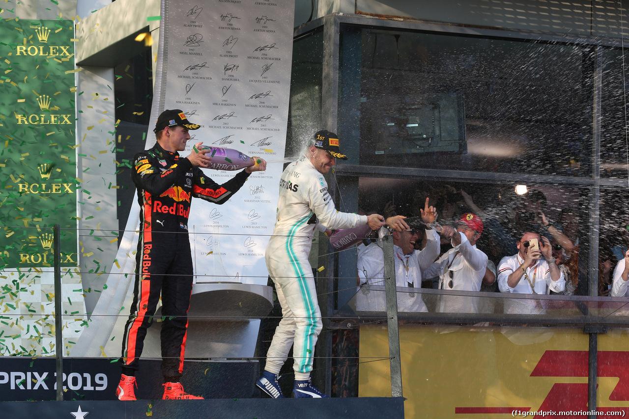 GP AUSTRALIA, 17.03.2019- Podium, winner Valtteri Bottas (FIN) Mercedes AMG F1 W10 EQ Power e 3rd Max Verstappen (NED) Red Bull Racing RB15
