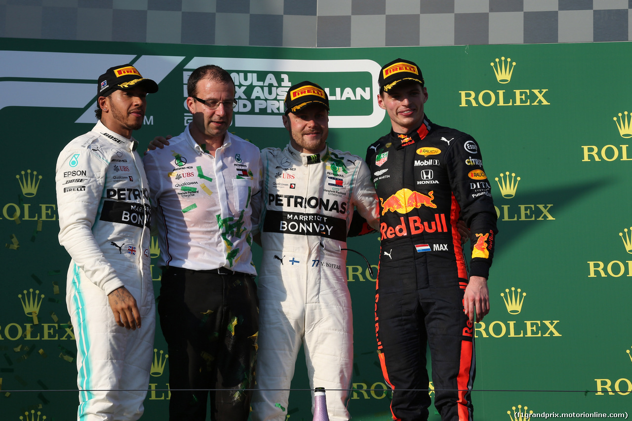 GP AUSTRALIA, 17.03.2019- Podium, winner Valtteri Bottas (FIN) Mercedes AMG F1 W10 EQ Power, 2nd place Lewis Hamilton (GBR) Mercedes AMG F1 W10 EQ Power, 3rd place Max Verstappen (NED) Red Bull Racing RB15