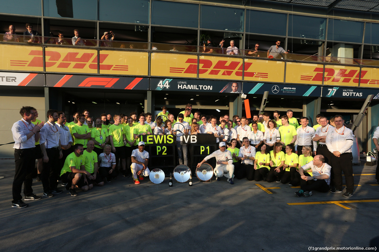 GP AUSTRALIA, 17.03.2019- The Mercedes AMG F1 team celebrates the 1st e the2nd place of Valtteri Bottas (FIN) Mercedes AMG F1 W10 EQ Powerand Lewis Hamilton (GBR) Mercedes AMG F1 W10 EQ Power