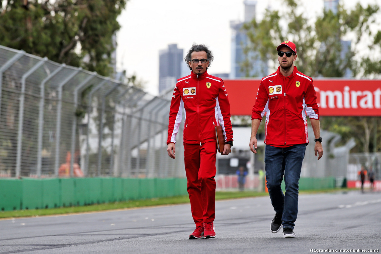 GP AUSTRALIA, Sebastian Vettel (GER) Ferrari walks the circuit with Laurent Mekies (FRA) Ferrari Sporting Director. 13.03.2019.