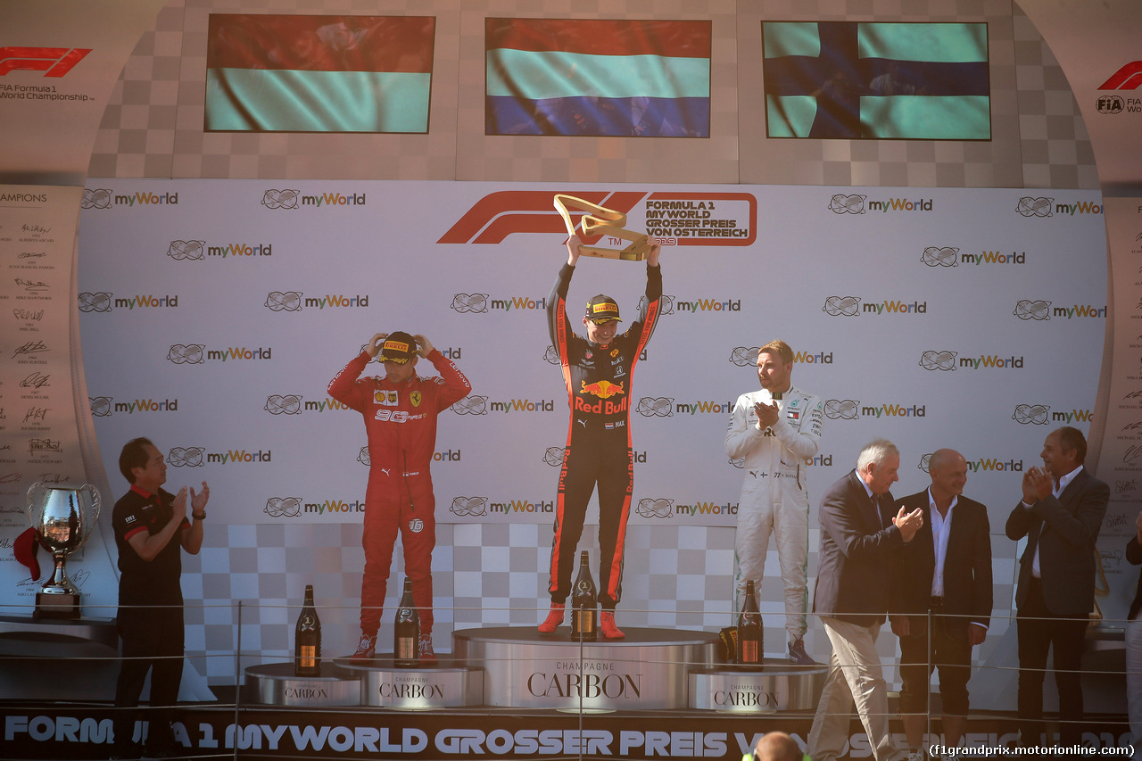 GP AUSTRIA, 30.06.2019 - Gara, 1st place Max Verstappen (NED) Red Bull Racing RB15, 2nd place Charles Leclerc (MON) Ferrari SF90 e 3rd place Valtteri Bottas (FIN) Mercedes AMG F1 W010