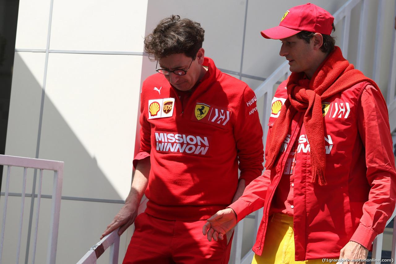 GP AZERBAIJAN, 28.04.2019 - Mattia Binotto (ITA) Ferrari Team Principal e John Elkann (ITA), President Ferrari