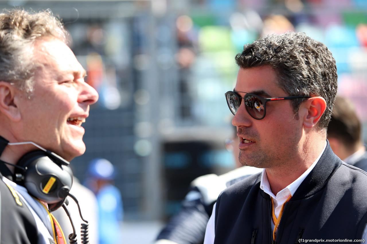 GP AZERBAIJAN, 28.04.2019 - Gara, Mario Isola (ITA), Pirelli Racing Manager e Michael Masi (AUS) FIA Gara director