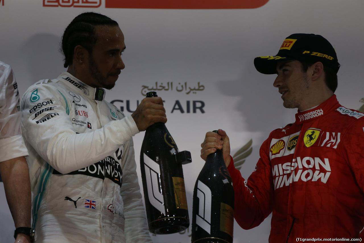 GP BAHRAIN, 31.03.2019- podium, winner Lewis Hamilton (GBR) Mercedes AMG F1 W10 EQ Power, 3rd place Charles Leclerc (MON) Ferrari SF90
