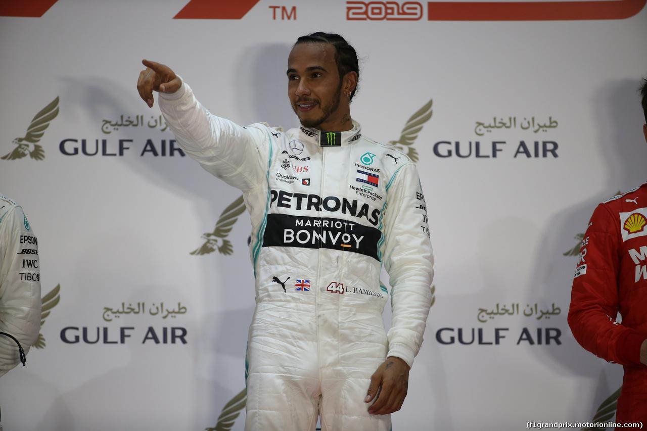 GP BAHRAIN, 31.03.2019- podium, winner Lewis Hamilton (GBR) Mercedes AMG F1 W10 EQ Power