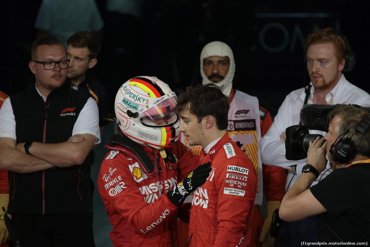 GP BAHRAIN, 31.03.2019- Parc ferme Sebastian Vettel (GER) Ferrari SF90 e Charles Leclerc (MON) Ferrari SF90