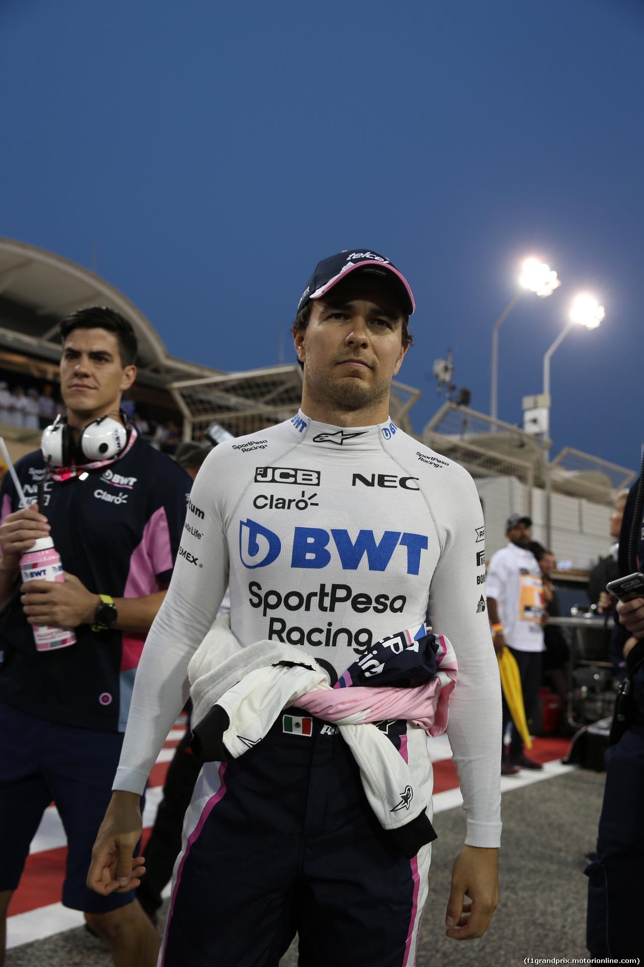 GP BAHRAIN, 31.03.2019- partenzaing grid,  Sergio Perez (MEX) Racing Point F1 RP19