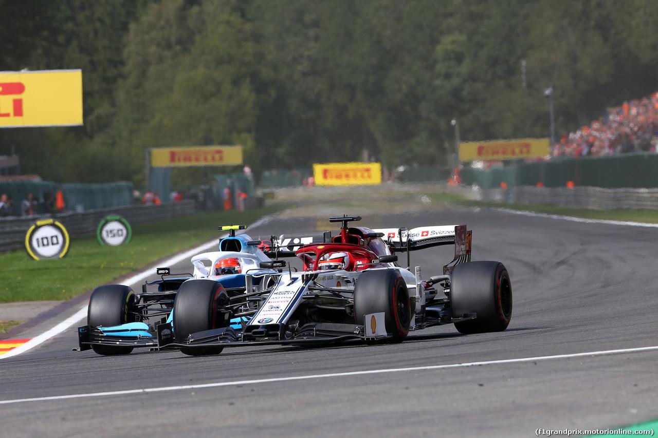 GP BELGIO, 01.09.2019 - Gara, Kimi Raikkonen (FIN) Alfa Romeo Racing C38 e Robert Kubica (POL) Williams Racing FW42