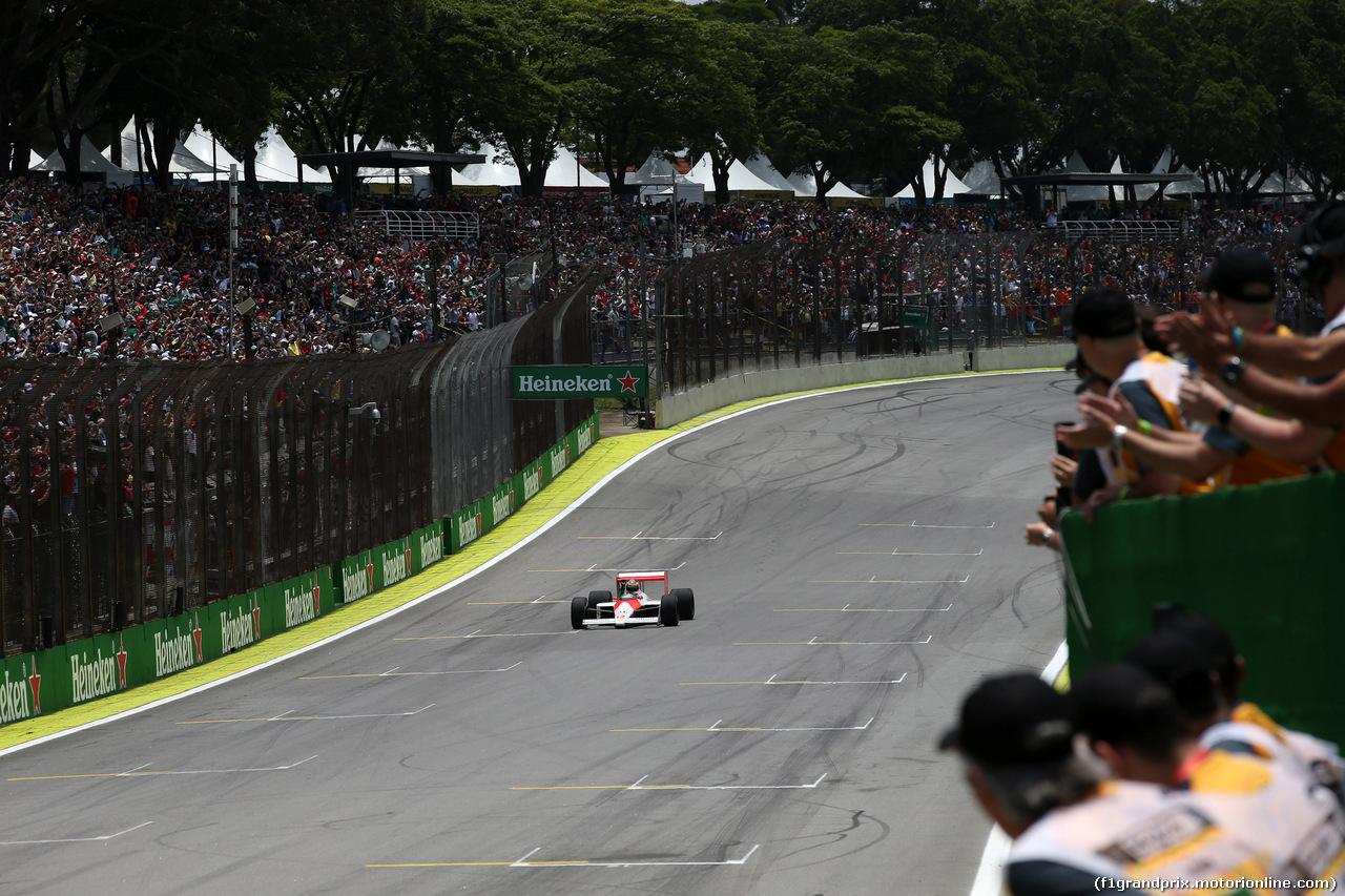 GP BRASILE, 17.11.2019 - Bruno Senna (BRA) in the 1988 McLaren MP4/4 raced by Ayrton Senna.
