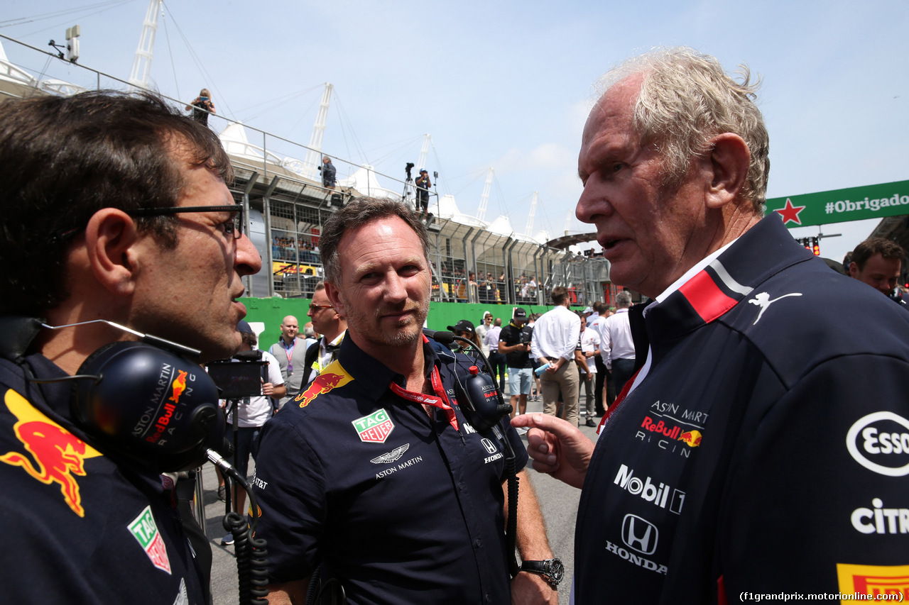 GP BRASILE, 17.11.2019 - Gara, Christian Horner (GBR), Red Bull Racing Team Principal e Helmut Marko (AUT), Red Bull Racing, Red Bull Advisor
