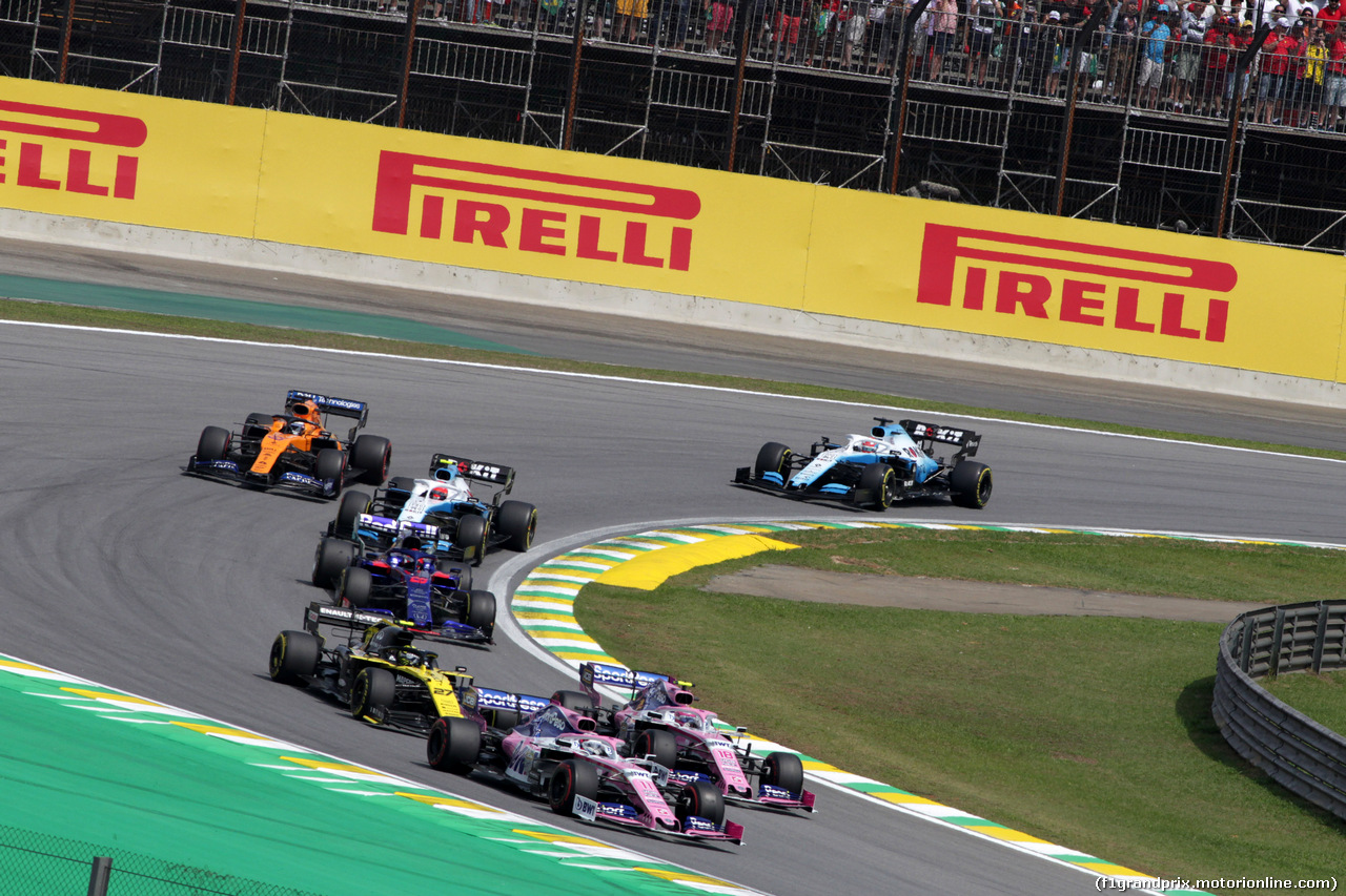 GP BRASILE, 17.11.2019 - Gara, Sergio Perez (MEX) Racing Point F1 Team RP19 e Lance Stroll (CDN) Racing Point F1 Team RP19