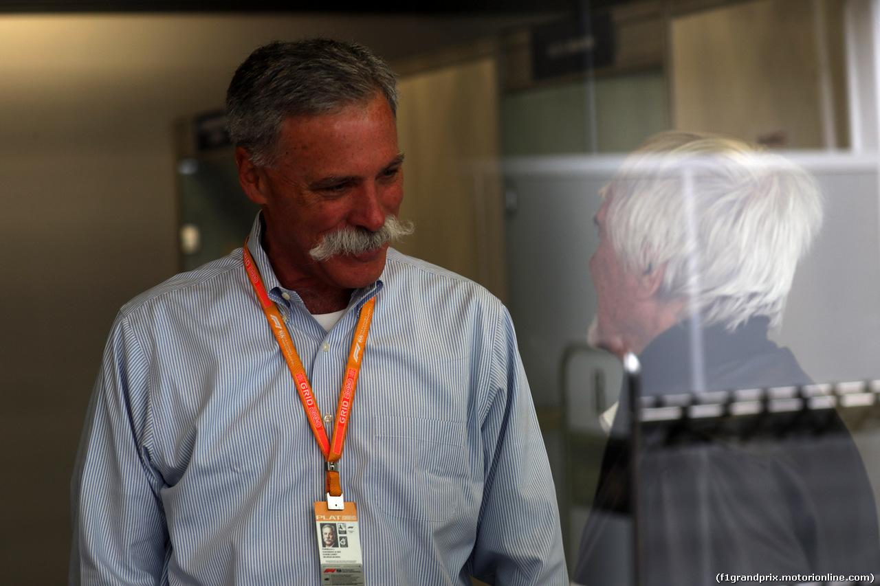 GP BRASILE, 16.11.2019 - Prove Libere 3, Chase Carey (USA) Formula One Group Chairman e Bernie Ecclestone (GBR)
