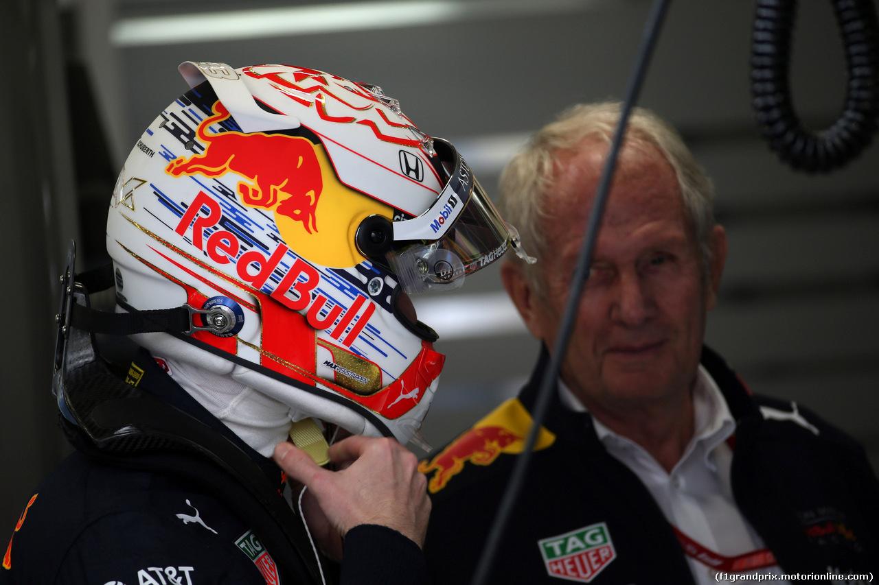 GP BRASILE, 16.11.2019 - Prove Libere 3, Max Verstappen (NED) Red Bull Racing RB15 e Helmut Marko (AUT), Red Bull Racing, Red Bull Advisor