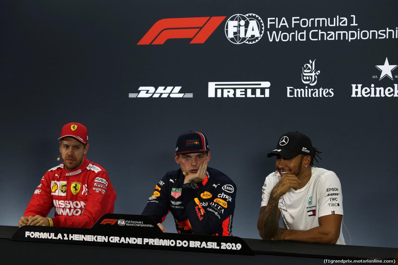 GP BRASILE, 16.11.2019 - Qualifiche, Conferenza Stampa, Sebastian Vettel (GER) Ferrari SF90, Max Verstappen (NED) Red Bull Racing RB15 e Lewis Hamilton (GBR) Mercedes AMG F1 W10