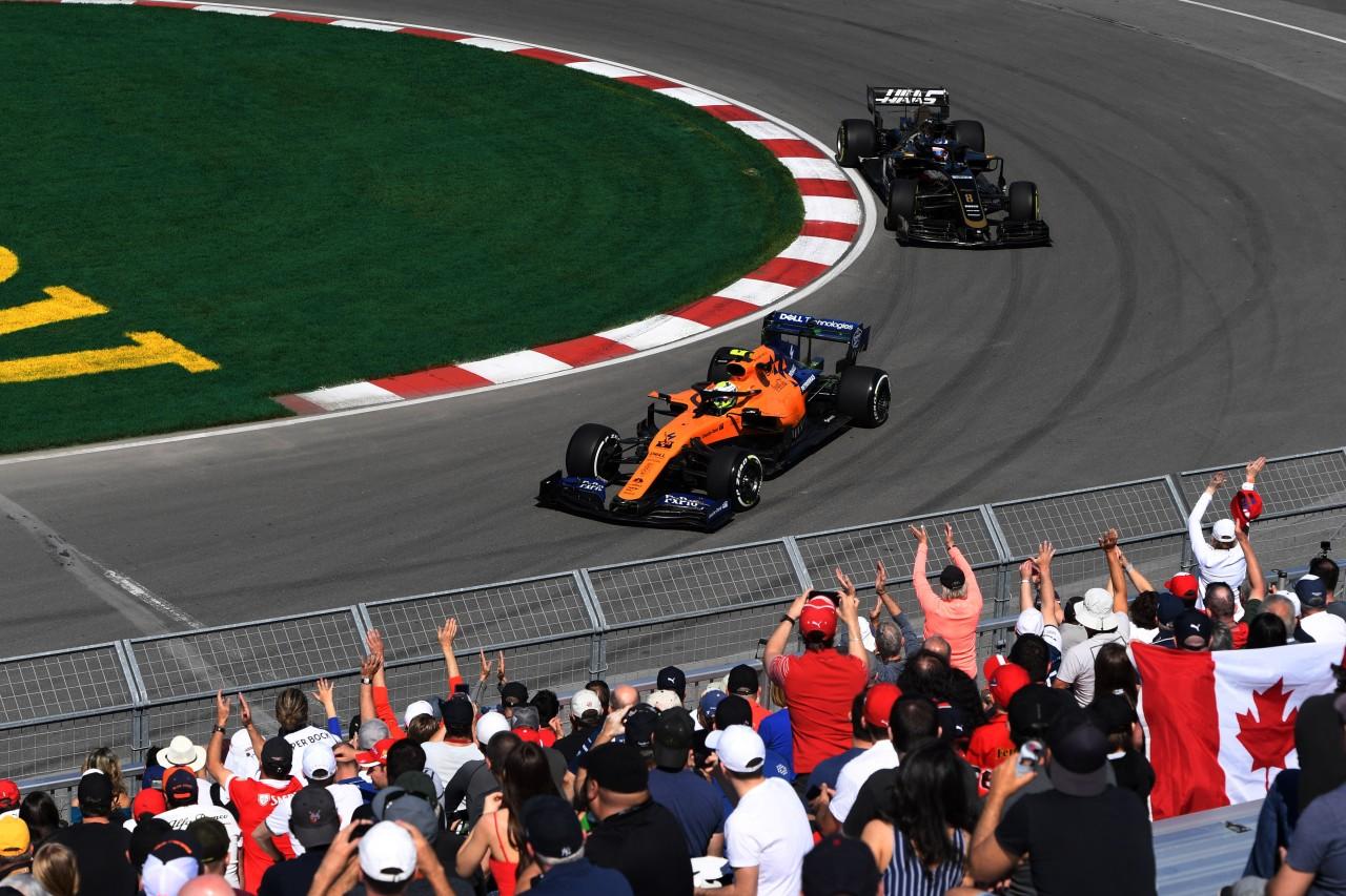 GP CANADA, 07.06.2019 - Prove Libere 1, Lando Norris (GBR) Mclaren F1 Team MCL34 e Romain Grosjean (FRA) Haas F1 Team VF-19