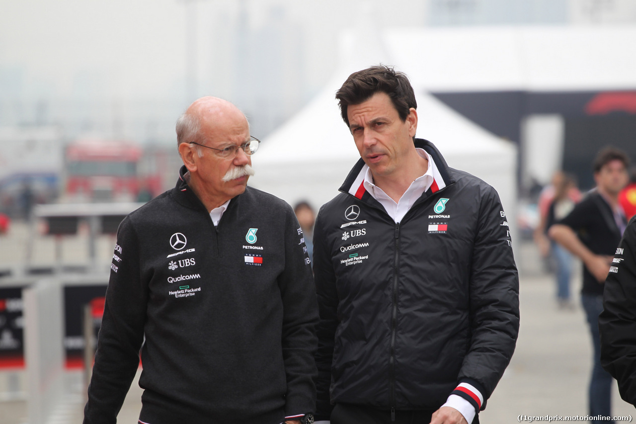 GP CINA, 14.04.2019- Toto Wolff (AUT) Sporting Director Mercedes-Benz e Dieter Zetsche (GER) Daimler-Mercedes Group CEO