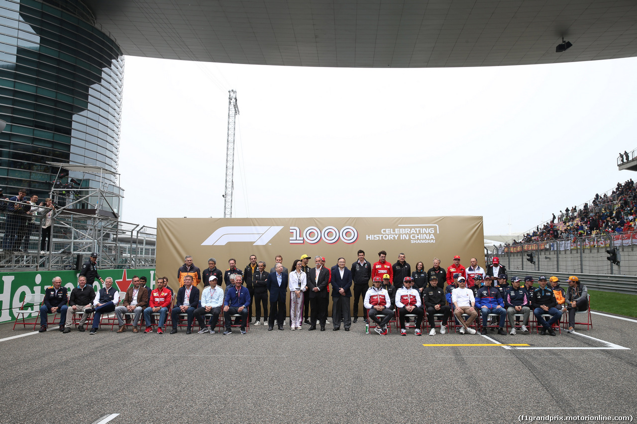 GP CINA, 14.04.2019- All F1 Driver, All F1 Team Manager, some Former F1 Drivers in the 1000th official picture