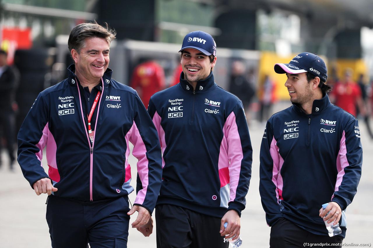 GP CINA, 12.04.2019- Sergio Perez (MEX) Racing Point F1 RP19  e Lance Stroll (CDN) Racing Point F1 RP19