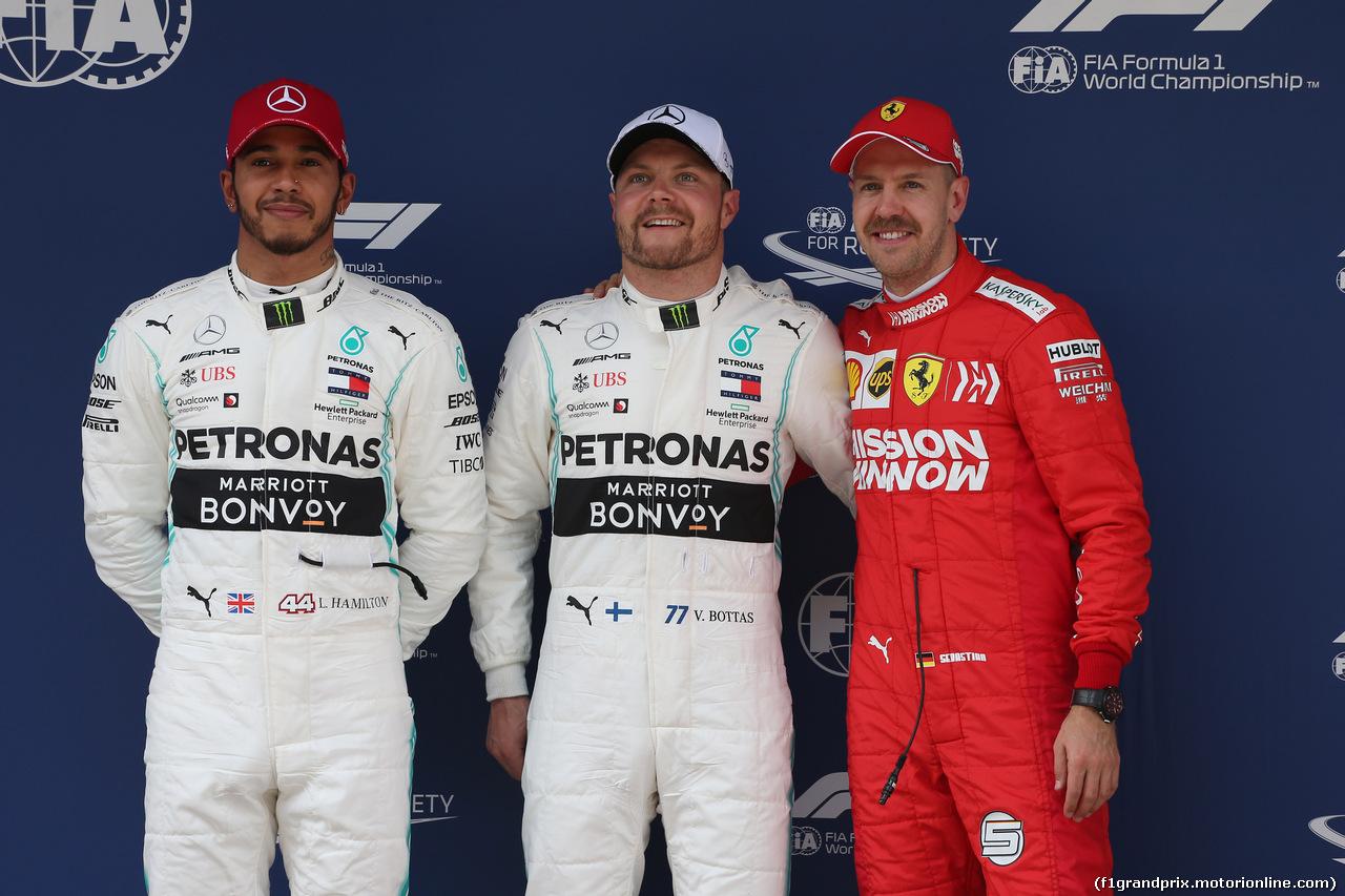 GP CINA, 13.04.2019- Qualifiche celebration: Pole Position Valtteri Bottas (FIN) Mercedes AMG F1 W10 EQ Power, 2nd place Lewis Hamilton (GBR) Mercedes AMG F1 W10 EQ Power, 3rd place Sebastian Vettel (GER) Ferrari SF90