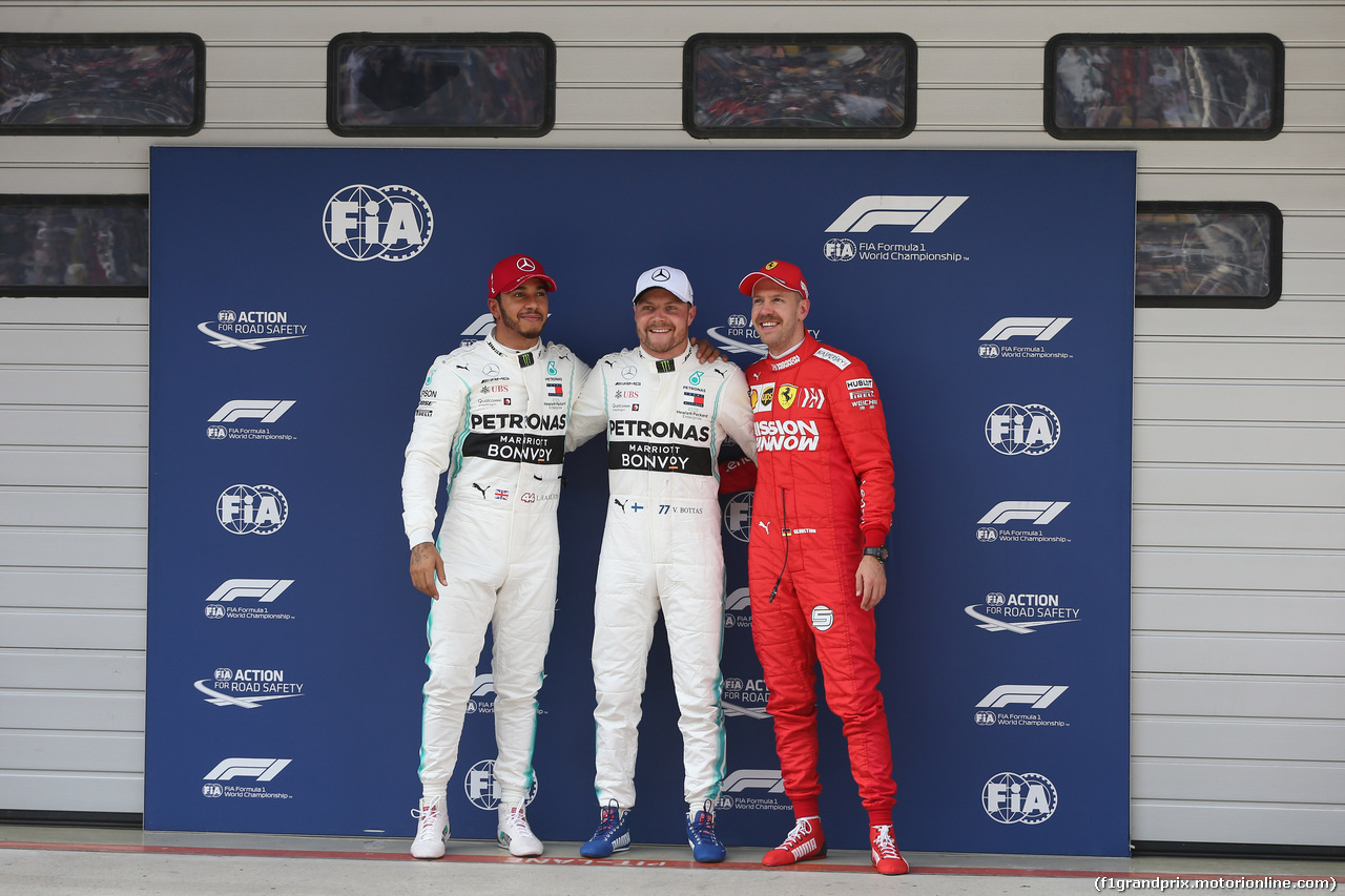 GP CINA, 13.04.2019- Qualifiche celebration: Pole Position Valtteri Bottas (FIN) Mercedes AMG F1 W10 EQ Power, 2nd place Lewis Hamilton (GBR) Mercedes AMG F1 W10 EQ Power, 3rd place Sebastian Vettel (GER) Ferrari SF90