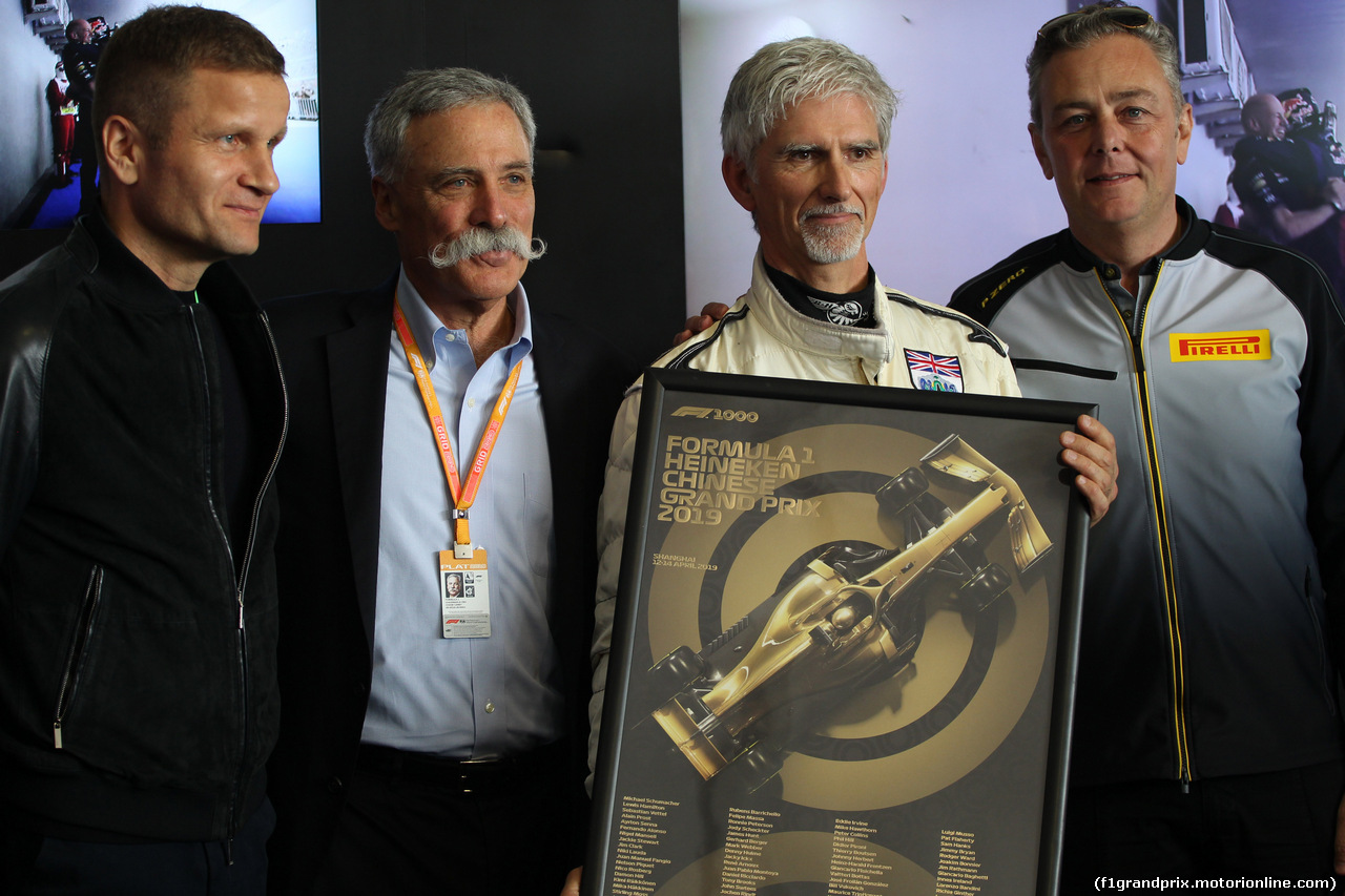GP CINA, 12.04.2019- Official 1000th F1 Gp Poster presentation: Chase Carey (US), Liberty Media, L to R Pavel Turek, Chase Carey (US), Liberty Media,  Damon Hill (GBR) 1996 F1 World Champion e Mario Isola (ITA), Sporting Director Pirelli