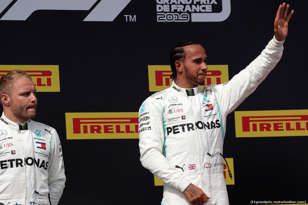 GP FRANCIA, 23.06.2019 - Gara, 2nd place Valtteri Bottas (FIN) Mercedes AMG F1 W010 e Lewis Hamilton (GBR) Mercedes AMG F1 W10 vincitore