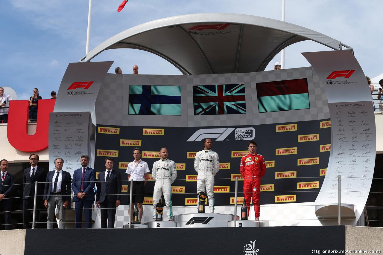 GP FRANCIA, 23.06.2019 - Gara, 1st place Lewis Hamilton (GBR) Mercedes AMG F1 W10 vincitore, 2nd place Valtteri Bottas (FIN) Mercedes AMG F1 W010 e 3rd place Charles Leclerc (MON) Ferrari SF90