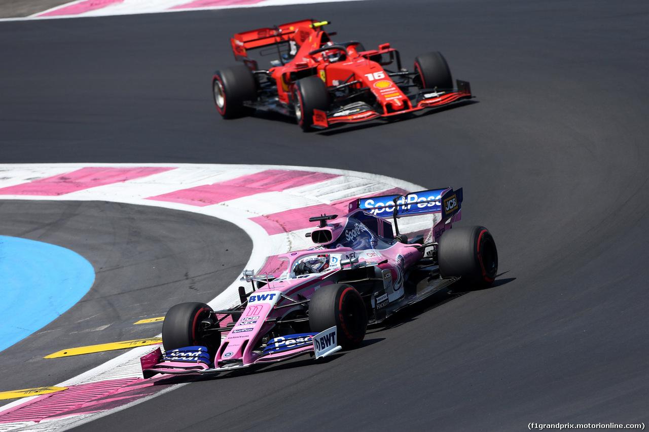 GP FRANCIA, 22.06.2019 - Prove Libere 3, Sergio Perez (MEX) Racing Point F1 Team RP19 e Charles Leclerc (MON) Ferrari SF90