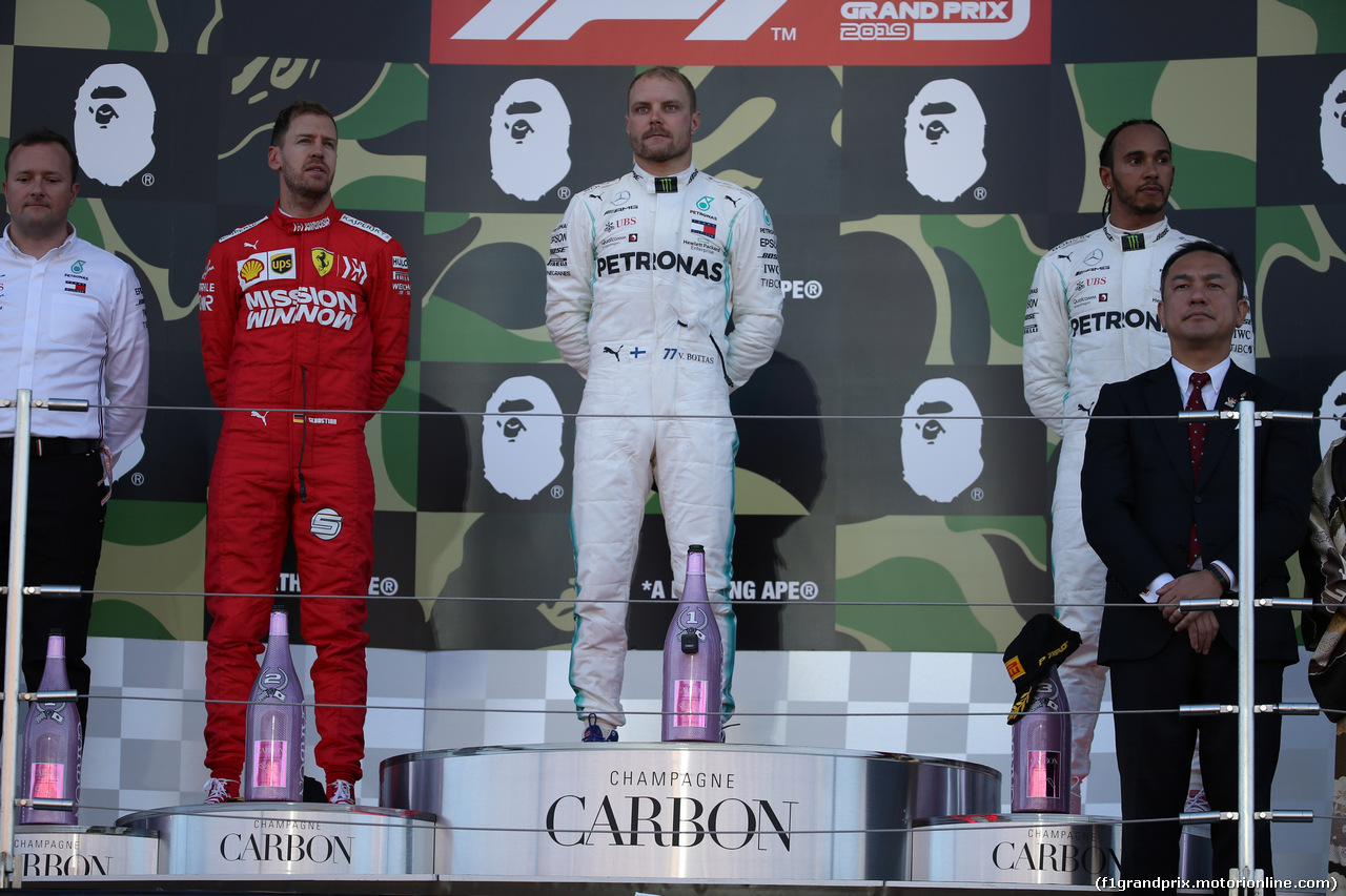 GP GIAPPONE, 13.10.2019- podium, winner Valtteri Bottas (FIN) Mercedes AMG F1 W10 EQ Power, 2nd place Sebastian Vettel (GER) Ferrari SF90, 3rd place Lewis Hamilton (GBR) Mercedes AMG F1 W10 EQ Power