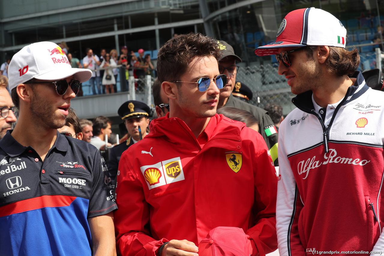 GP ITALIA, 08.09.2019 - Pierre Gasly (FRA) Scuderia Toro Rosso STR14, Charles Leclerc (MON) Ferrari SF90 e Antonio Giovinazzi (ITA) Alfa Romeo Racing C38