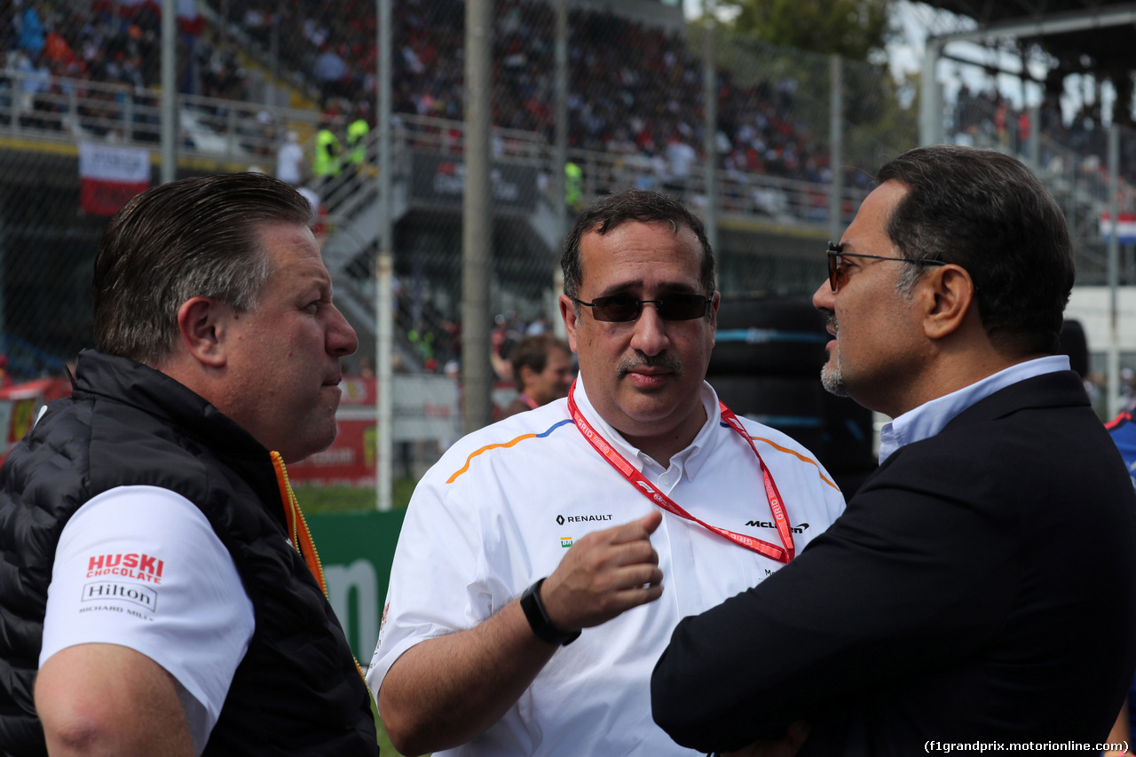GP ITALIA, 08.09.2019 - Gara, Zak Brown (USA) McLaren Executive Director e Sheikh Mohammed bin Essa Al Khalifa (BRN) CEO of the Bahrain Economic Development Board e McLaren Shareholder