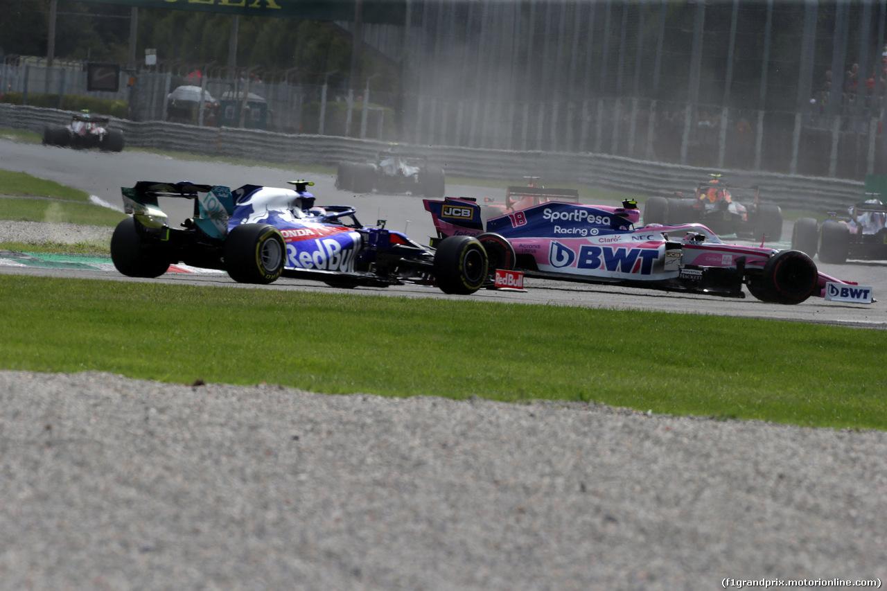 GP ITALIA, 08.09.2019 - Gara, Crash, Pierre Gasly (FRA) Scuderia Toro Rosso STR14 e Lance Stroll (CDN) Racing Point F1 Team RP19
