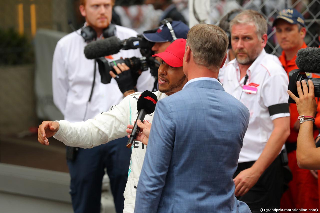 GP MONACO, 26.05.2019 - Gara, Lewis Hamilton (GBR) Mercedes AMG F1 W10 vincitore with David Coulthard (GBR)