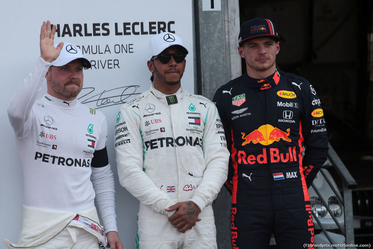 GP MONACO, 25.05.2019 - Qualifiche, 2nd place Valtteri Bottas (FIN) Mercedes AMG F1 W010, Lewis Hamilton (GBR) Mercedes AMG F1 W10 pole position e 3rd place Max Verstappen (NED) Red Bull Racing RB15