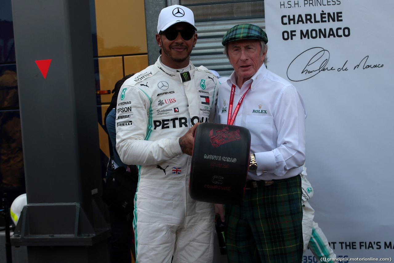 GP MONACO, 25.05.2019 - Qualifiche, Lewis Hamilton (GBR) Mercedes AMG F1 W10 pole position e Sir Jackie Stewart (GBR)