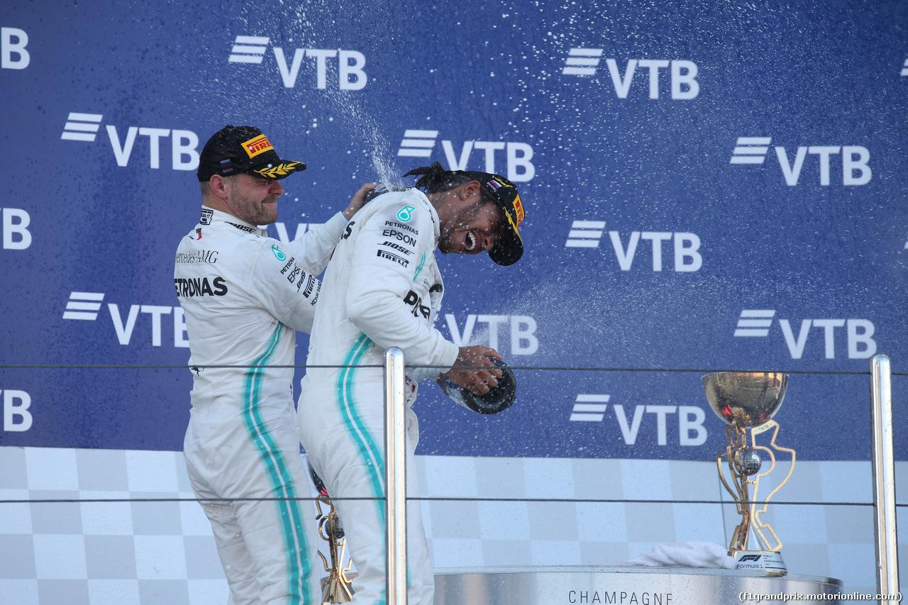 GP RUSSIA, 29.09.2019- Podium, winner Lewis Hamilton (GBR) Mercedes AMG F1 W10 EQ Power, 2nd place Valtteri Bottas (FIN) Mercedes AMG F1 W10 EQ Power, 3rd place Charles Leclerc (MON) Ferrari SF90
