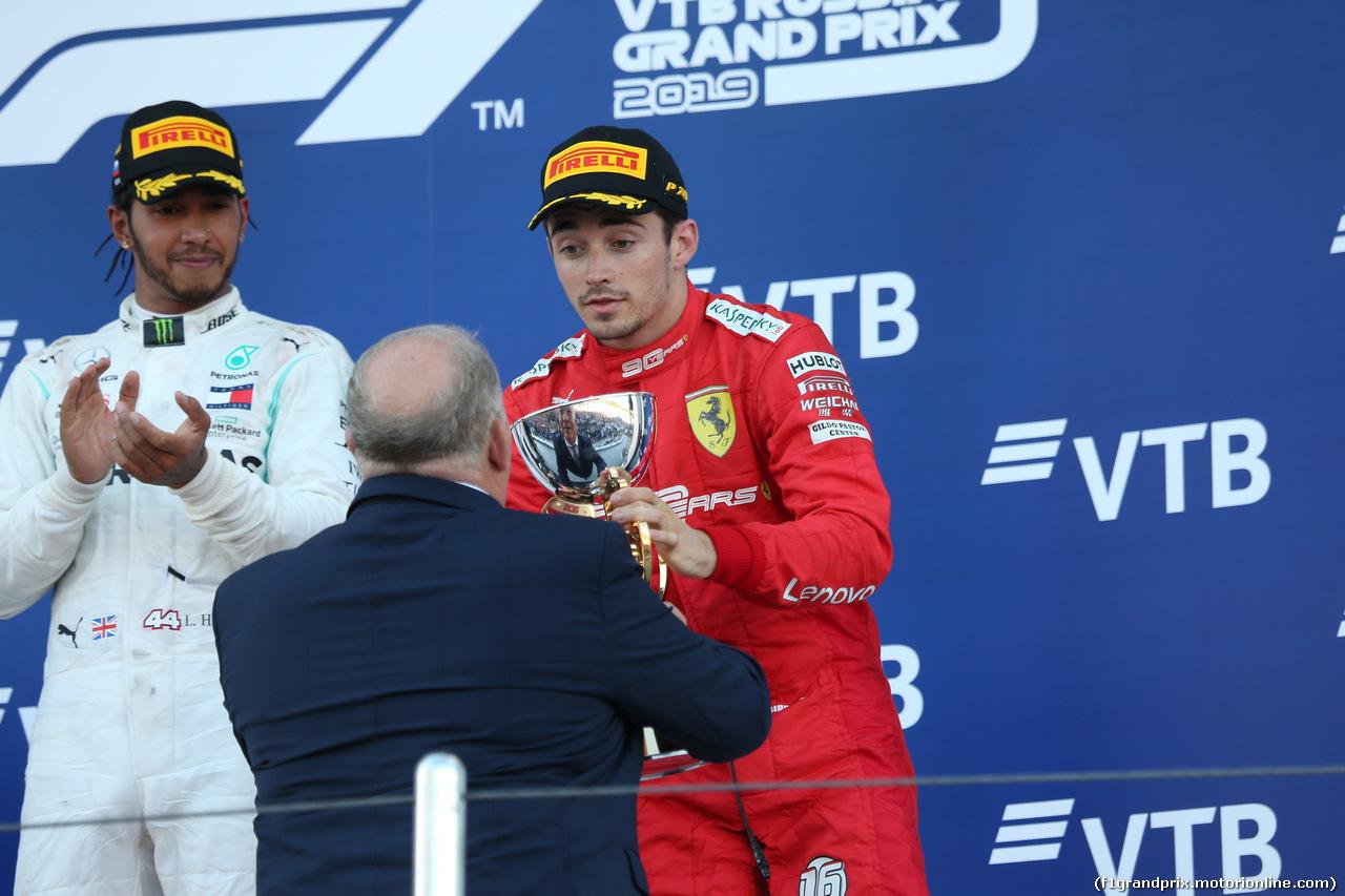 GP RUSSIA, 29.09.2019- Podium, 3rd place Charles Leclerc (MON) Ferrari SF90