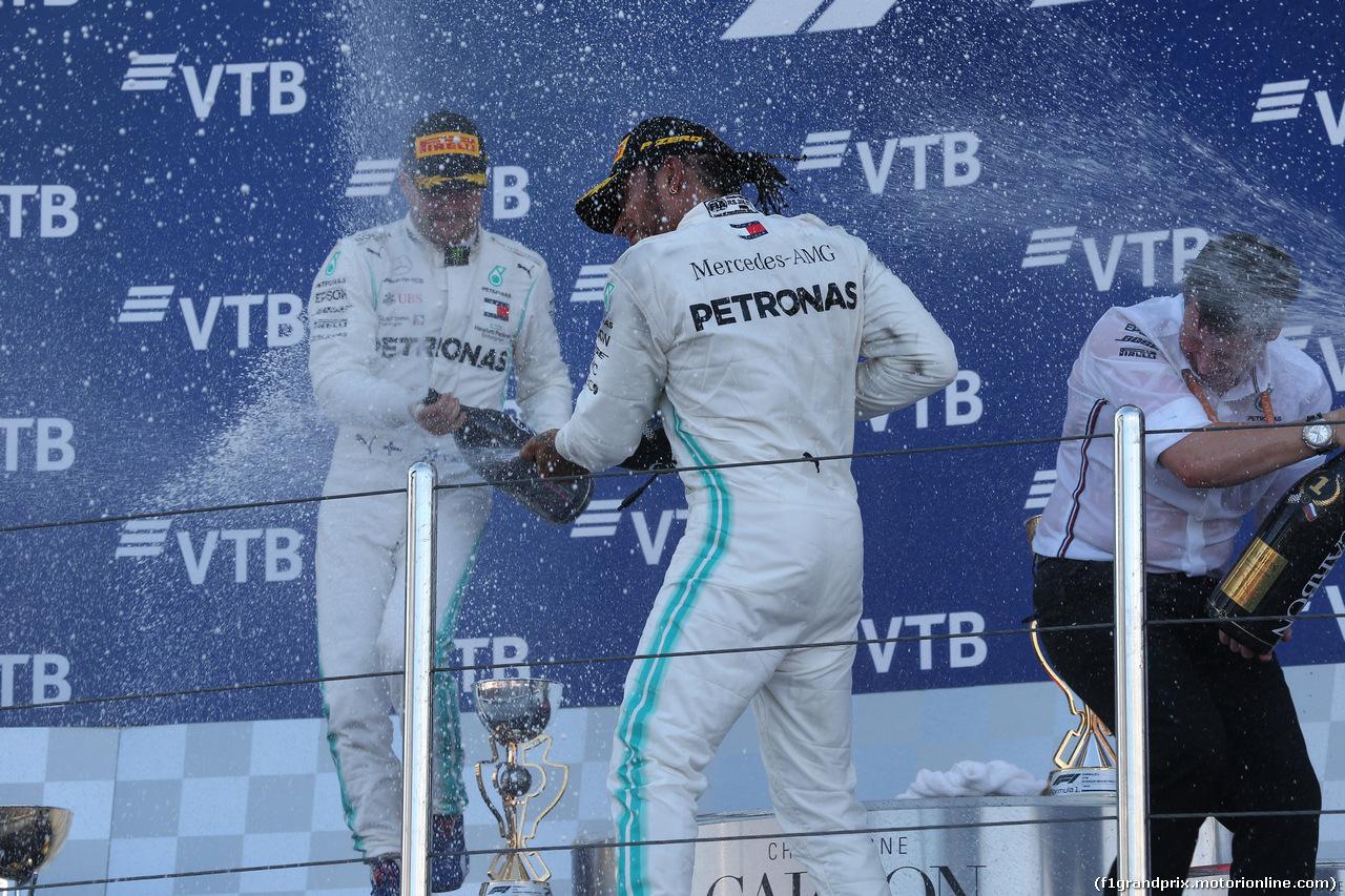 GP RUSSIA, 29.09.2019- Podium, winner Lewis Hamilton (GBR) Mercedes AMG F1 W10 EQ Power, 2nd place Valtteri Bottas (FIN) Mercedes AMG F1 W10 EQ Power