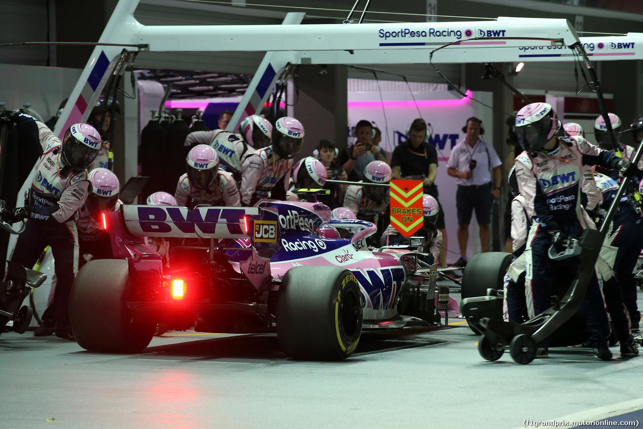GP SINGAPORE, 22.09.2019 - Gara, Pit stop, Lance Stroll (CDN) Racing Point F1 Team RP19